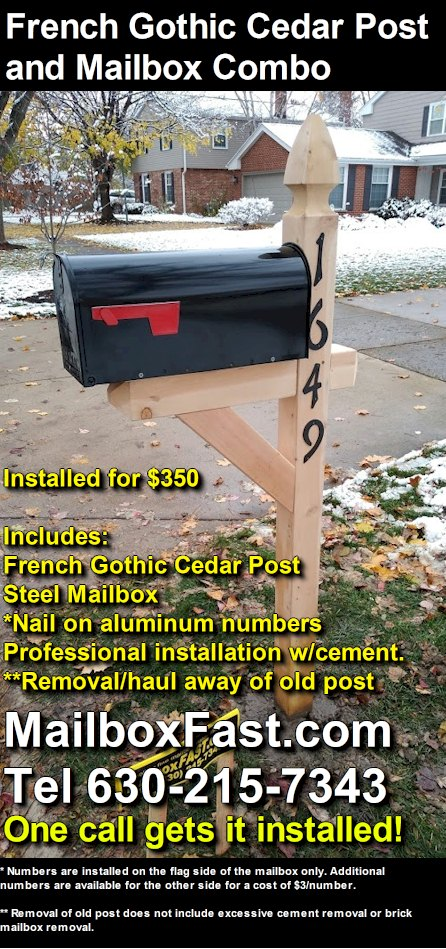 The French Gothic Cedar Post And Mailbox Package Mailbox Fast Mailbox Installer In Naperville